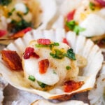 scallops with crowdie and bacon