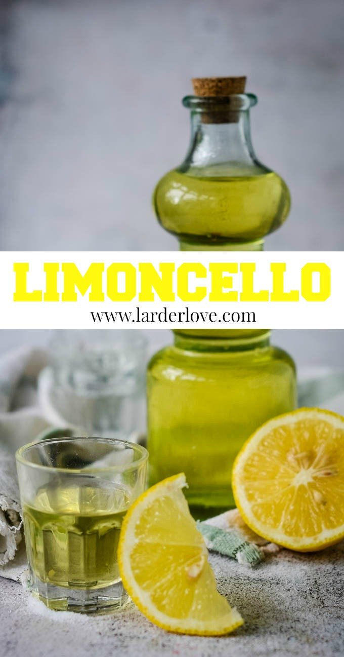 quick and easy homemade limoncello pin image