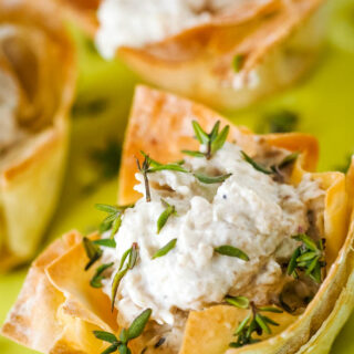 mushroom and whisky filo tartlets