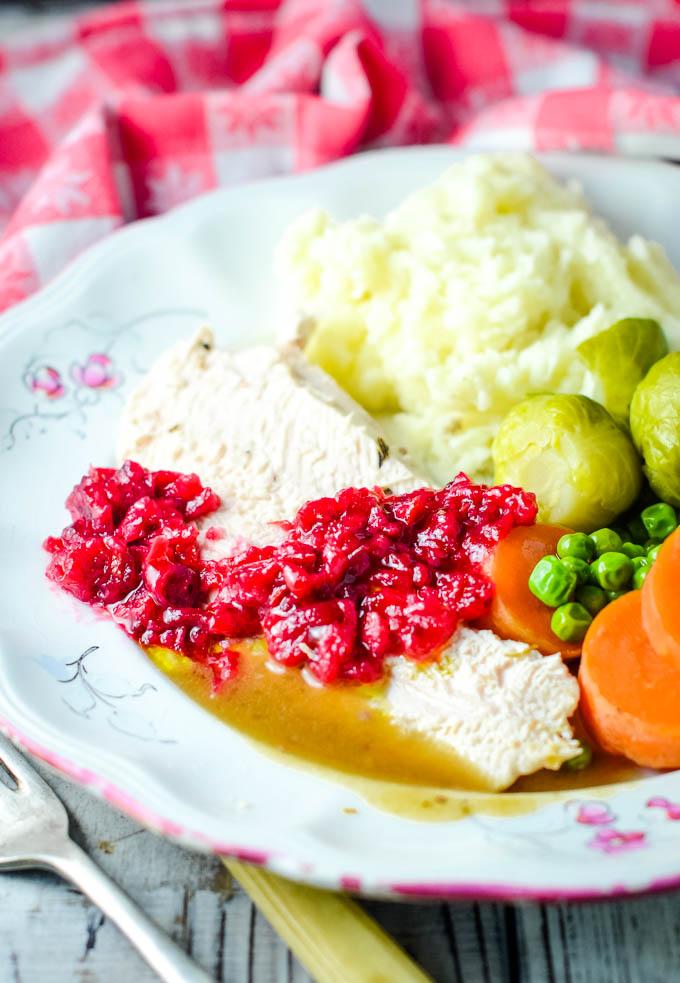 long shot of Christmas dinner plate