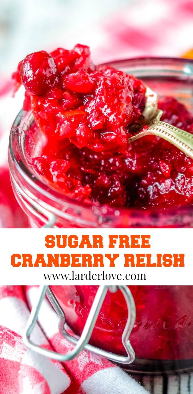 refined sugar free cranberry relish pin image
