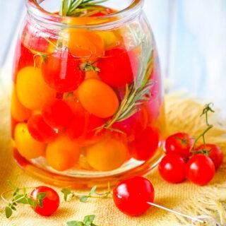 jar of vodka infused tomatoes