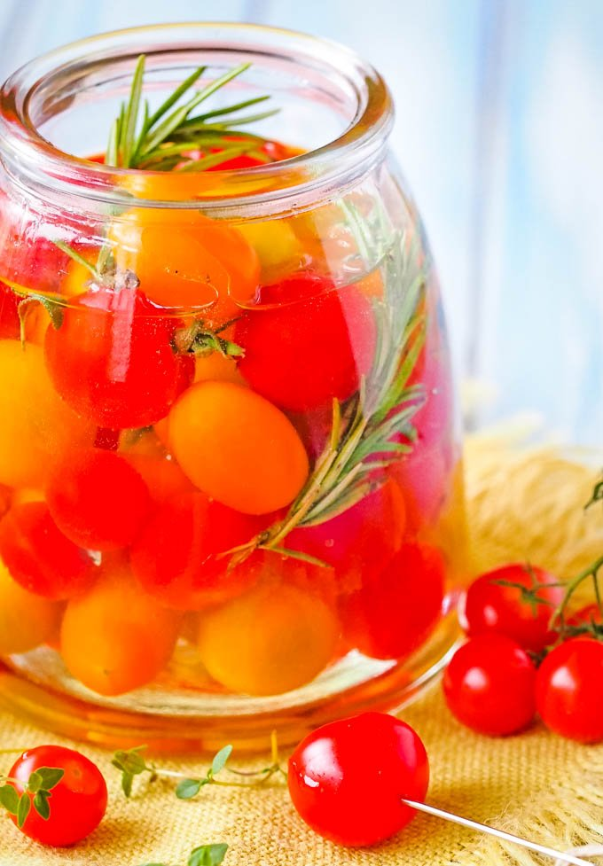 side view of jar of tomatoes