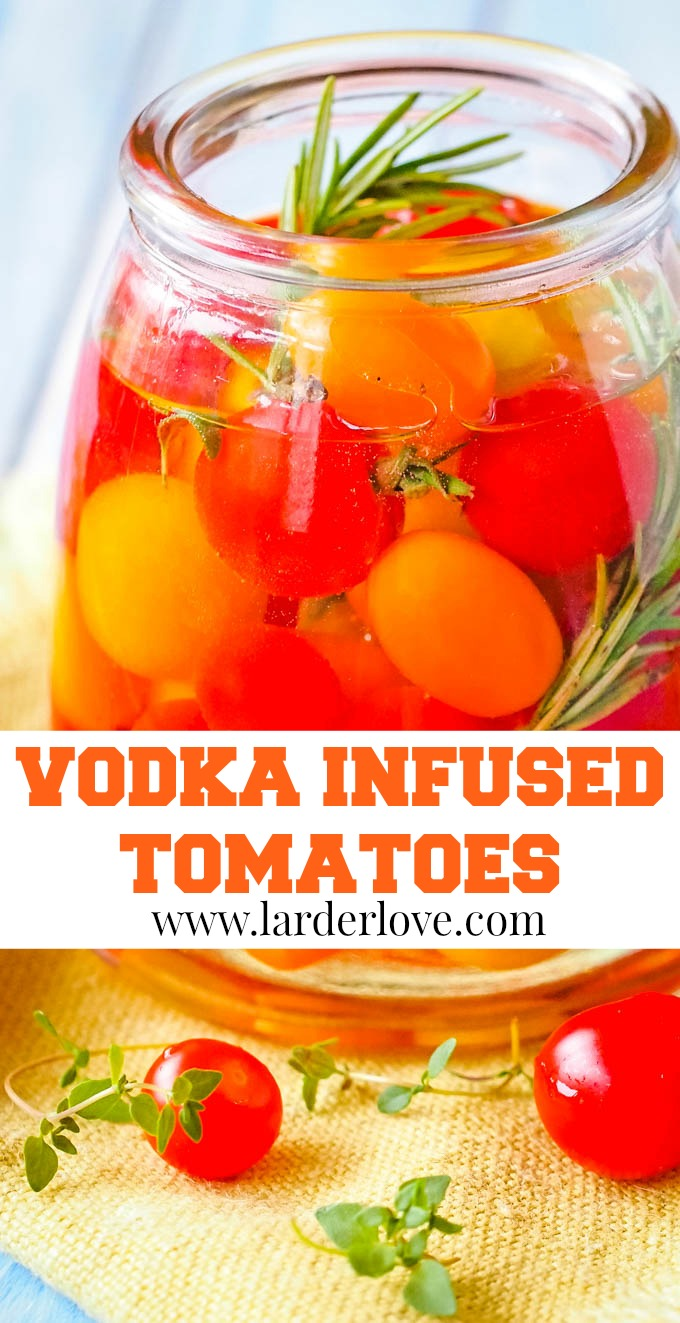 vodka infused tomatoes pin image