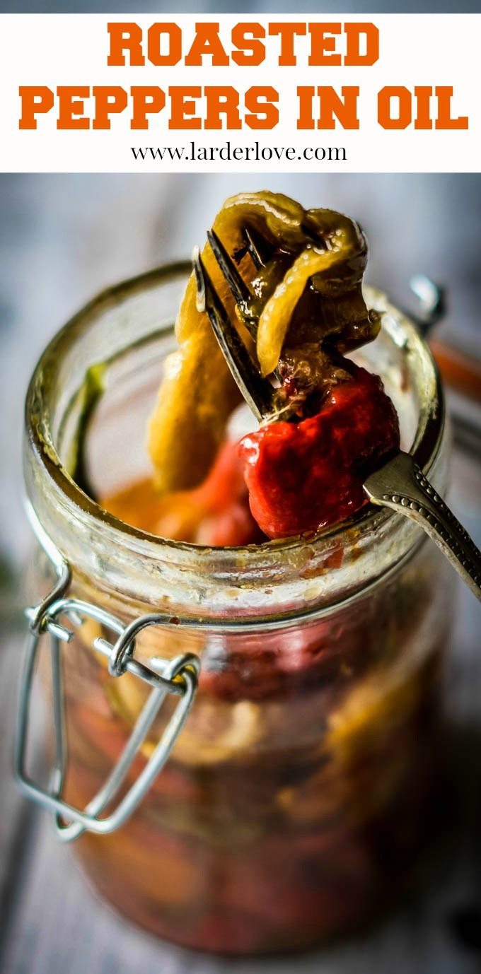 These super tasty peppers preserved in oil are delicious served as an antipasti, with sandwiches or pasta and all sorts of ways. Super easy to make and a great way of saving some summer tastes.