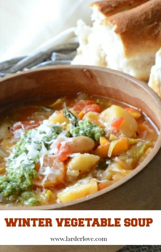 winter vegetable soup pin image