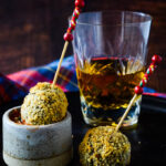 haggis baubles with whisky glass behind