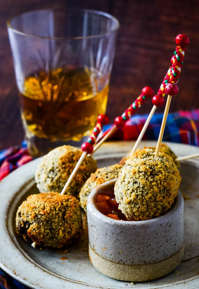 group of haggis baubles with dip