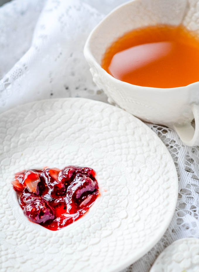 jam heart and cup of tea