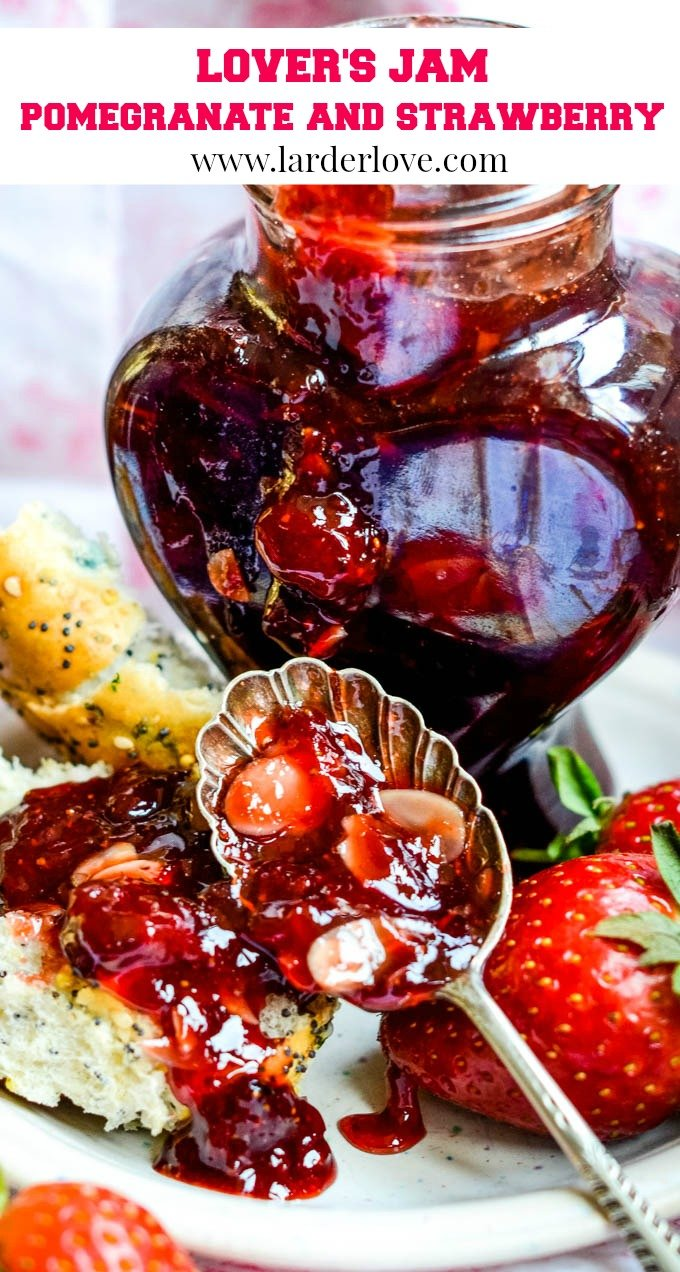 Lover's strawberry and pomegranate jam for valentine's day pin image