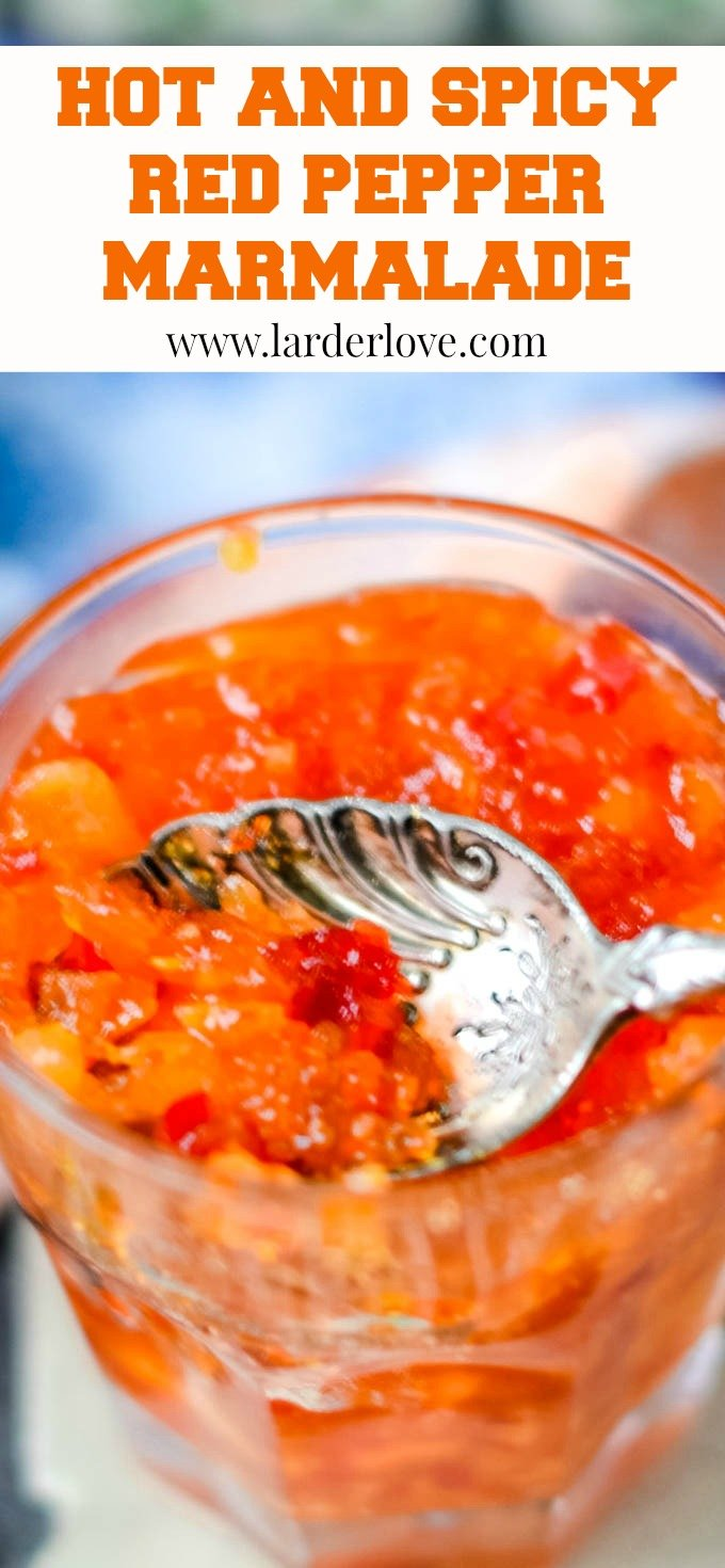 hot and spicy red pepper marmalade pin image