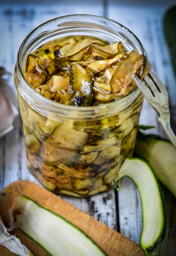 courgettes preserved in oil by larderlove