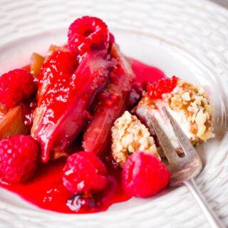 rhubarb and raspberries with sweet cheese