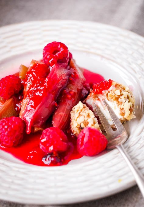rhubarb and raspberries with sweet cheese