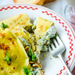 pesto crepes/pancakes pin image