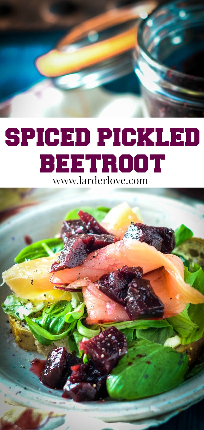 This is a super easy recipe for spiced pickled beetroot that will go with everything from mac and cheese to salads and sandwiches too. By larderlove