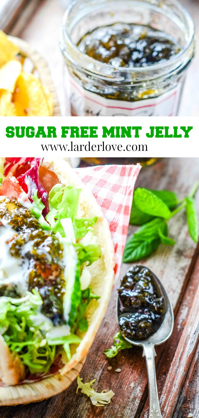 super easy homemade sugar free mint jelly pin image