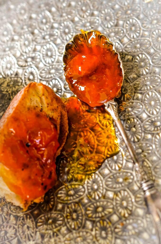 spoonfuil of apricot jam by larderlove.com