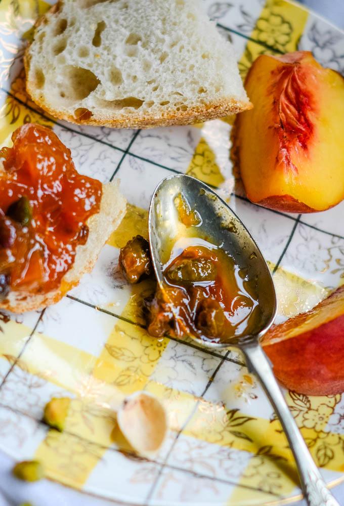 peach and pistachio nut jam