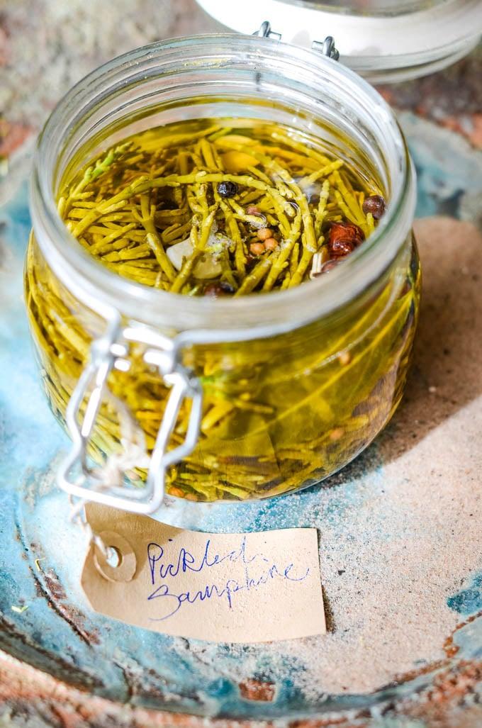 top down shot of pickled samphire in jar