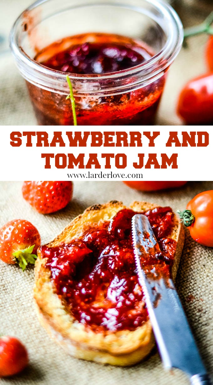 homemade strawberry and tomato jam is both sweet and savoury. It works just as well on a cheeseboard as it does on toast in the morning