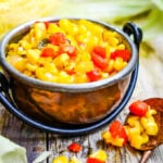 super simple sweetcorn relish in bowl