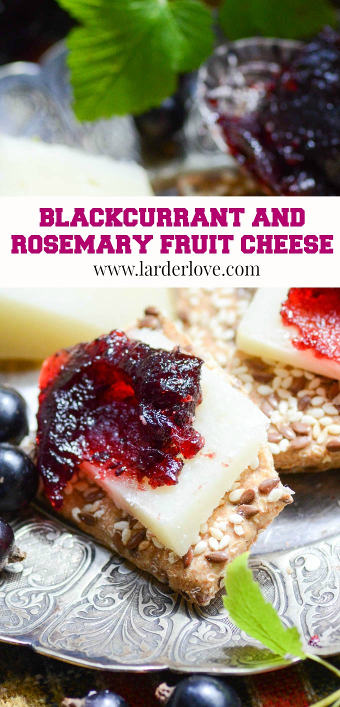 Blackcurrant and rosemary fruit cheese is a super easy preserve to make. It goes perfectly on a cheeseboard or antipasti platter. #larderlove #blackcurrant jam #fruit cheese