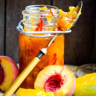 chutney in jar with spoon