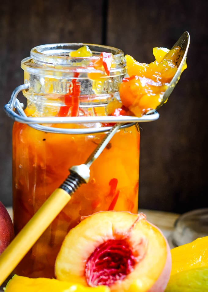 chutney in jar with fruits