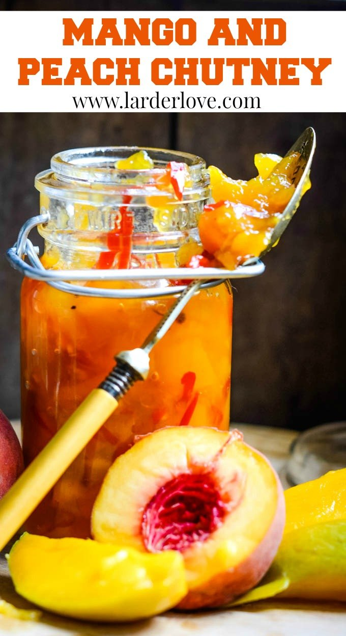 spicy mango and peach chutney pin image