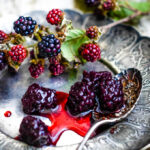 sweet and sour pickled blackberries with berries and pickle