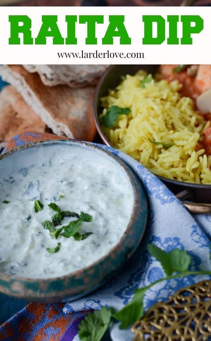 super easy homemade raita dip. Perfect with curries but just as good in wraps, as a dip with chips and in wraps with salad and kebabs too. by larderlove