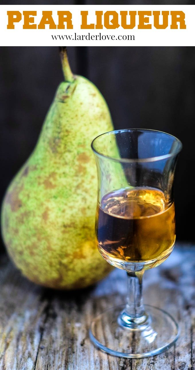 This homemade pear liqueur is so easy to make with just a few simple ingredients. It is rich, luxurious and warming. The perfect winter tipple. By larderlove