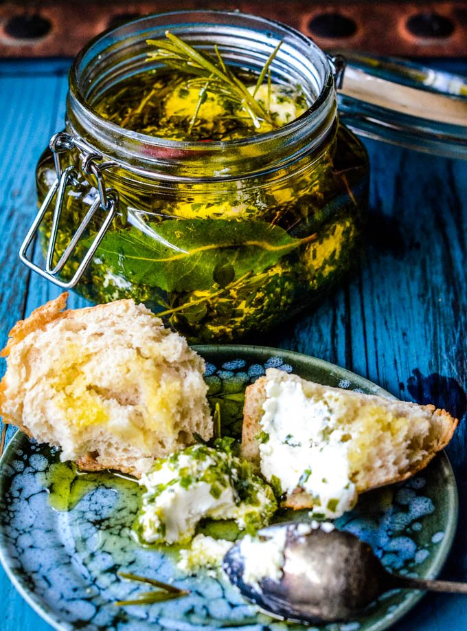 serving labneh on bread