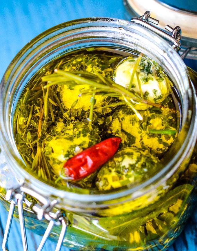 top down shot of open jar