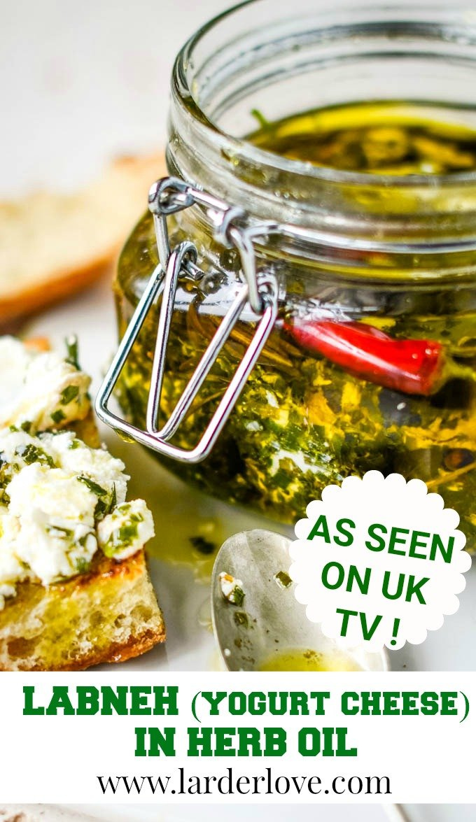 labneh in herb oil pin image