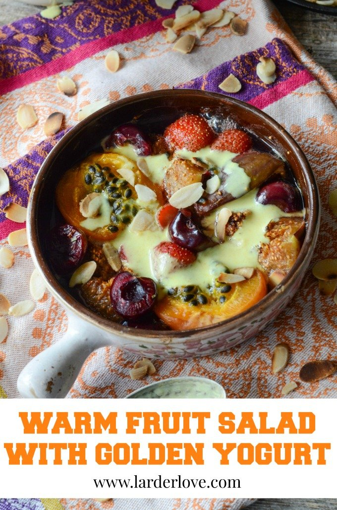 healthy warm fruit salad with a golden yogurt sauce with turmeric spice by larderlove