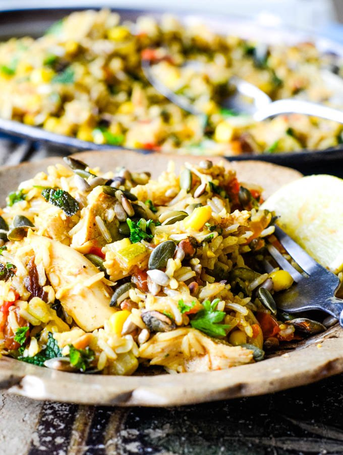 close up of plated pilaf