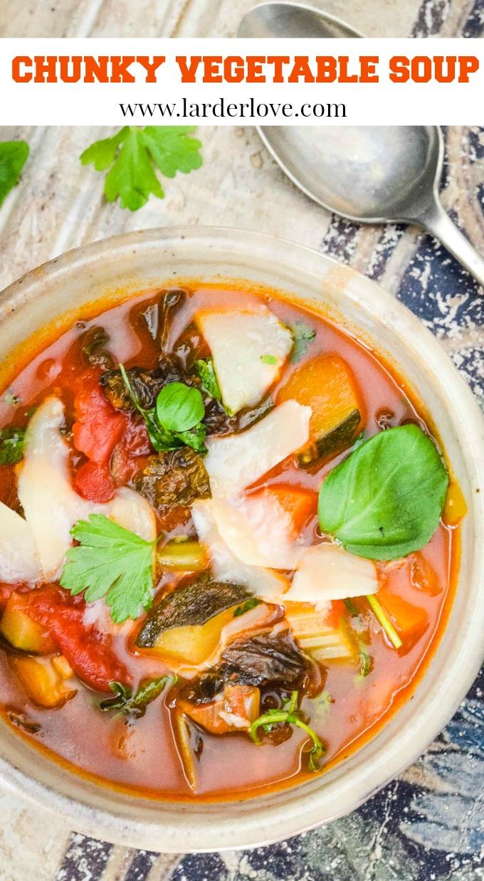 chunky vegetable soup pin image