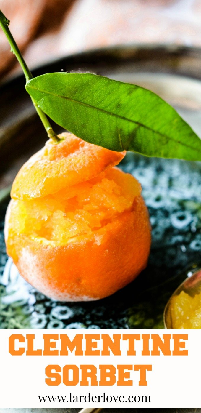 clementine sorbet makes the perfect festive dessert, light and tasty and such a treat by larderlove