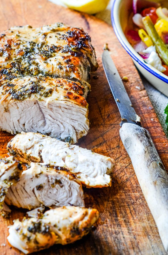 Greek style roast turkey
