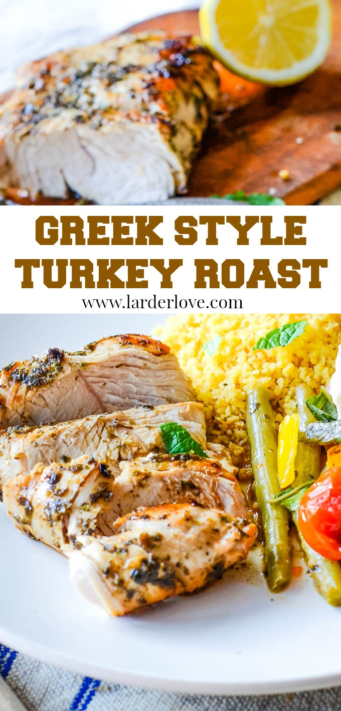 Greek style roast turkey with a warm salad. A quick and easy healthy meal that tastes delicious too and with all the flavours of Greece. #Greek recipes #turkey #roast turkey #larderlove
