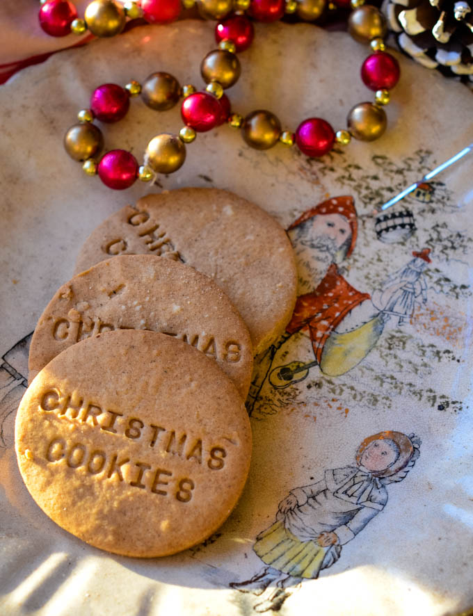 cookies on vintage Christmas plate