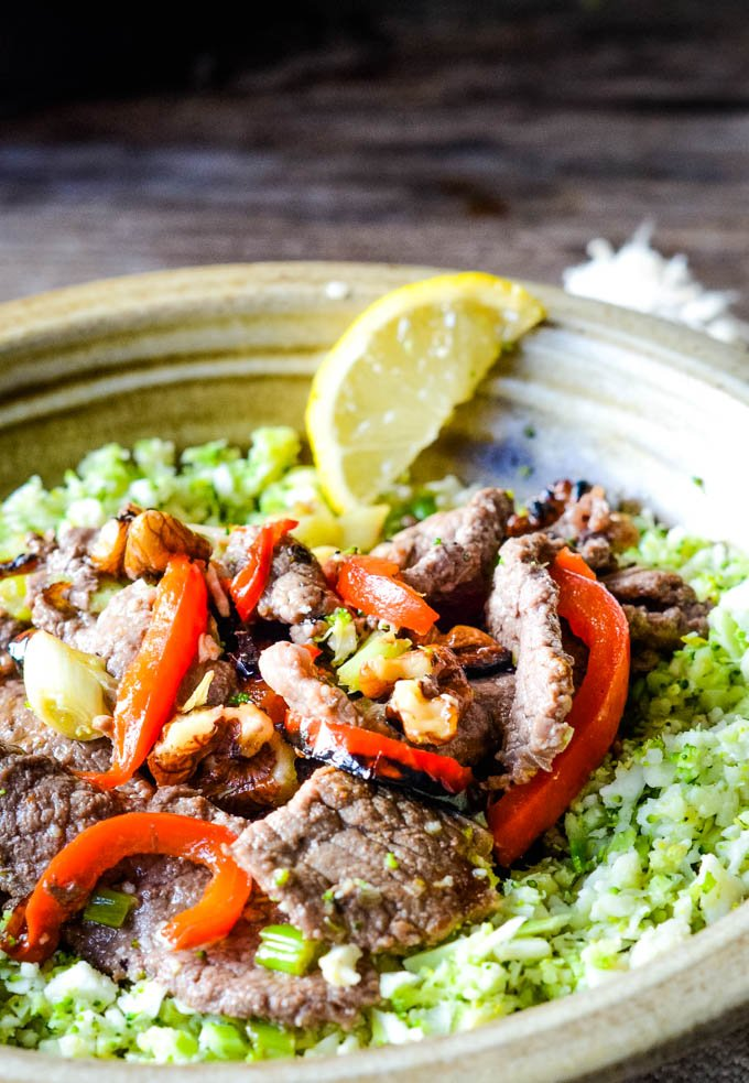 close up of beef and walnut stirfry on plate
