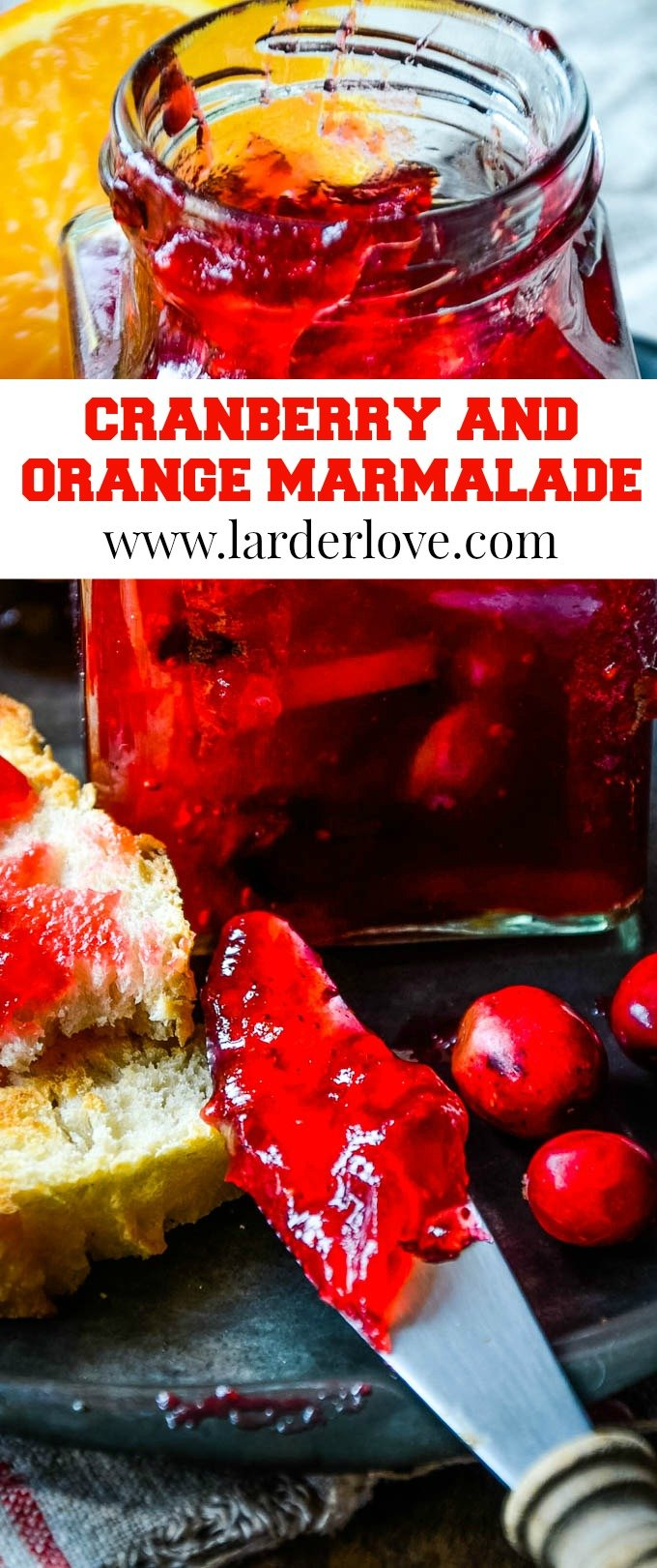spiced cranberry and orange marmalade pin image
