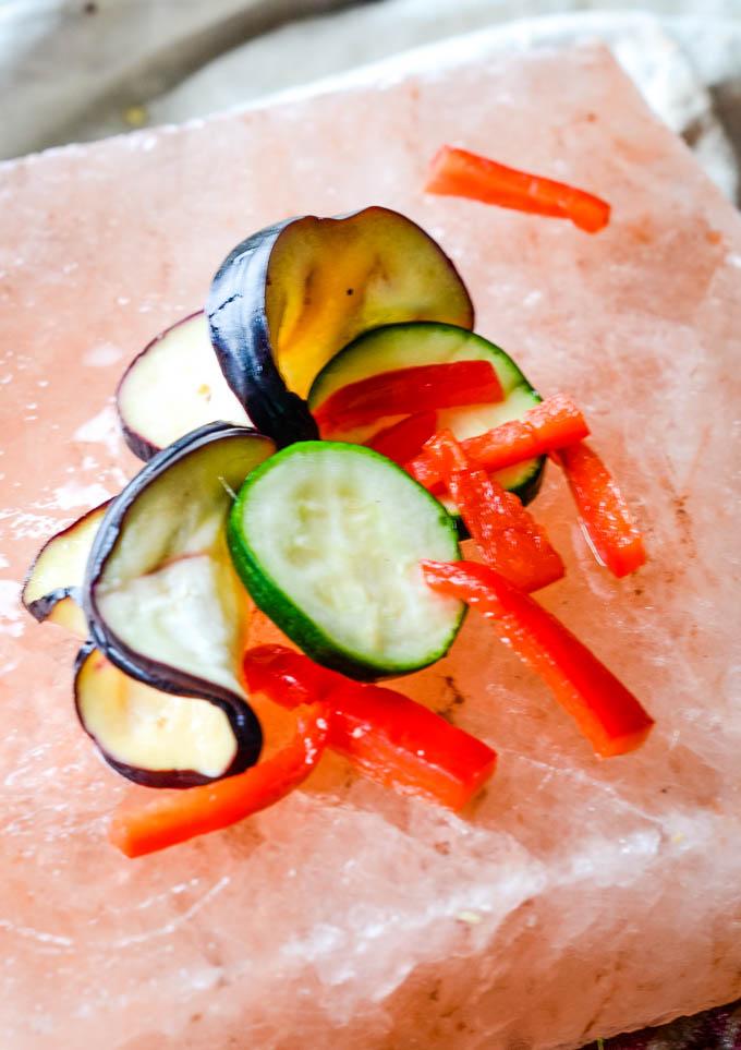 pickled veggies on a salt block