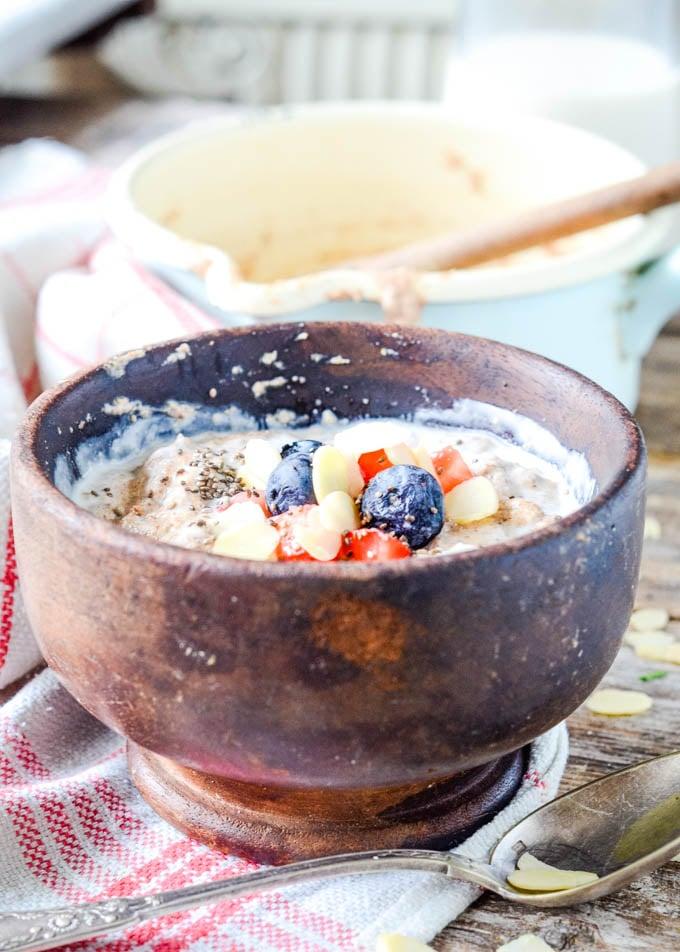 wooden bowl of porridge
