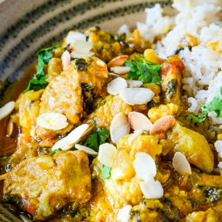 leftover turkey curry close up in bowl