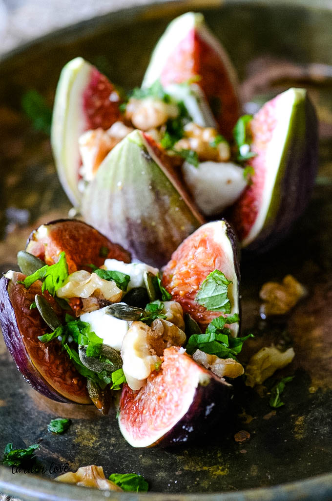 baked figs with feta and walnuts
