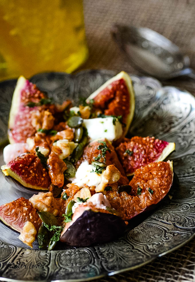 baked figs with feta mint and walnuts